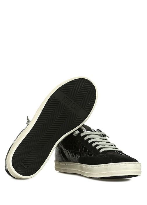 A8 John Siyah Doku Detaylı Kadın Deri Sneaker