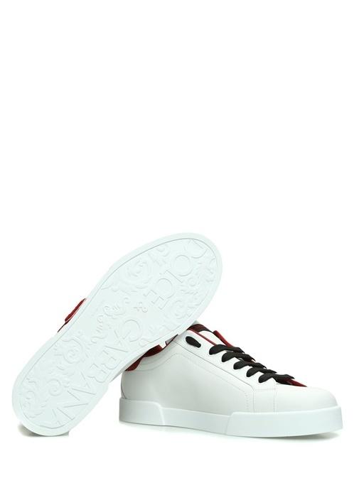 Beyaz Logo Patchli Erkek Deri Sneaker