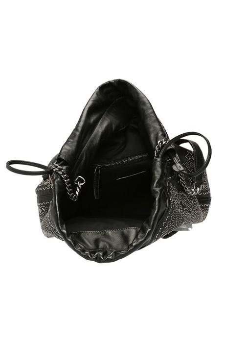 Teddy Siyah Trok İşlemeli Kadın Deri Çanta