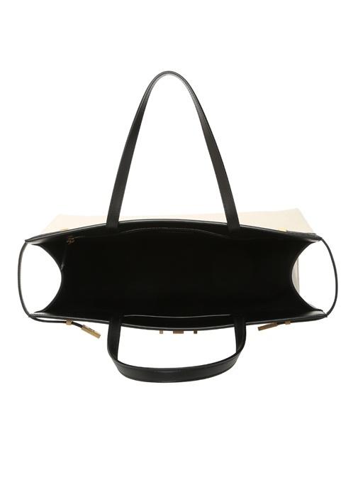 Manhattan Medium Siyah Logolu Kadın Deri Çanta