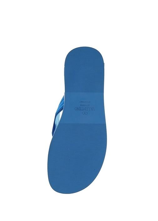Mavi Siyah Logolu Erkek Deri Plaj Terliği
