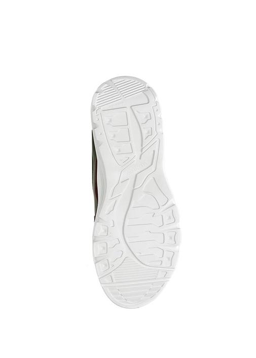 Haki Logolu Kalın Tabanlı Erkek Deri Sneaker