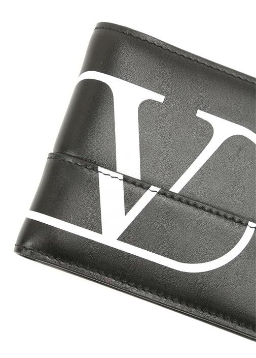 Siyah Beyaz Logo Baskılı Erkek Deri Cüzdan