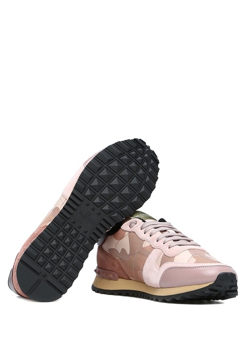 Pembe Kamuflaj Desenli Kadın Deri Sneaker