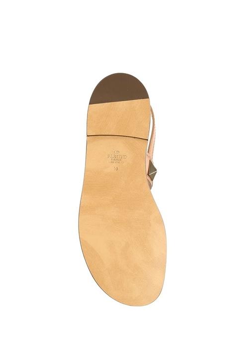 Taba Çift Bantlı Kadın Deri Sandalet