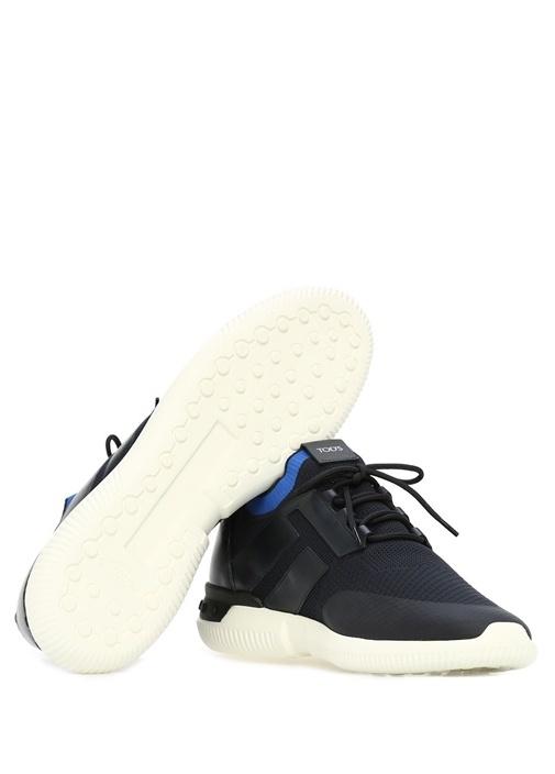 Lacivert File Dokulu Logolu Erkek Deri Sneaker
