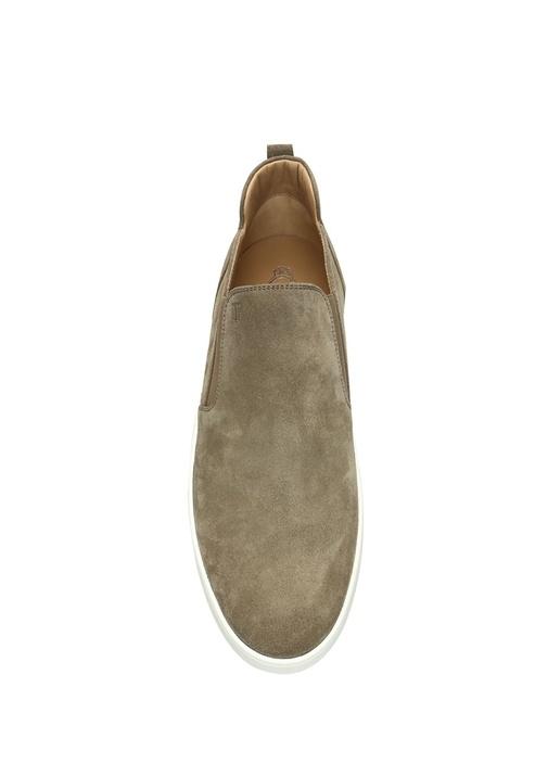 Bej Logolu Lastik Detaylı Erkek Süet Sneaker