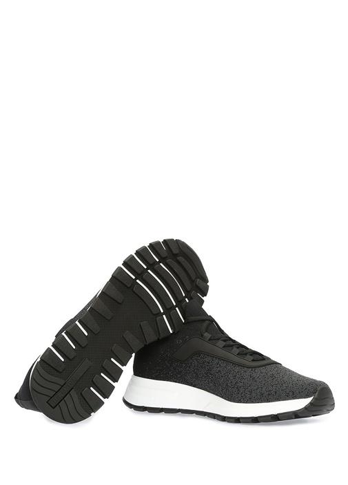 Siyah Gri Örgü Dokulu Erkek Sneaker