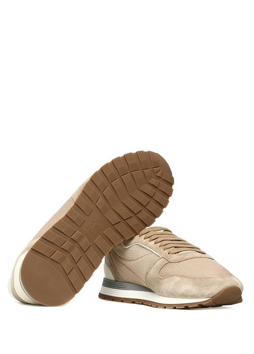 Bej File Dokulu Logolu Erkek Sneaker