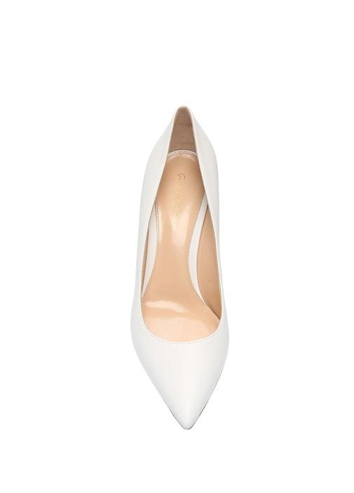 Gianvito 70 Beyaz Deri Topuklu Ayakkabı