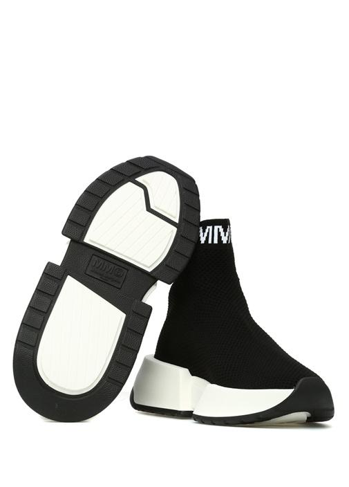 Siyah Dokulu Logo Jakarlı Çorap Formlu Kadın Sneak