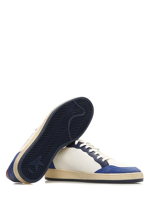 Ball Star Beyaz Mavi Erkek Deri Sneaker