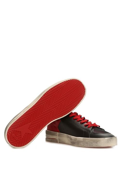 Stardan Siyah Kırmızı Erkek Deri Sneaker