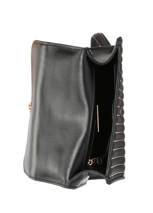 Fleming Mini Siyah Gold Troklu Kadın Deri Çanta