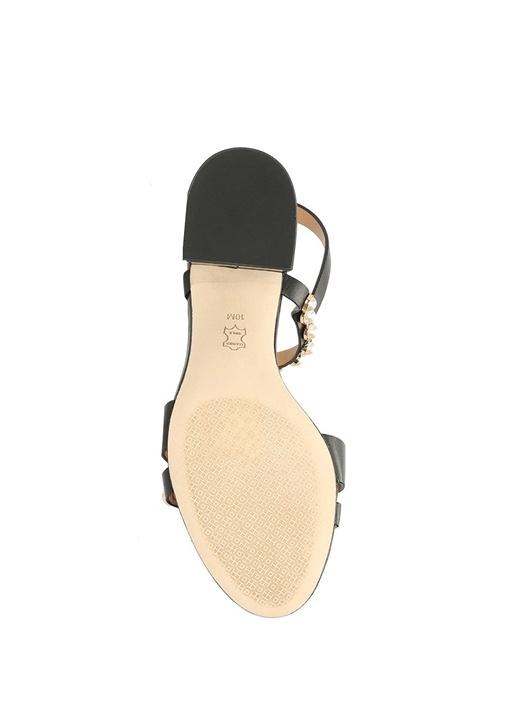 Emmy Siyah İnci Şeritli Kadın Deri Sandalet