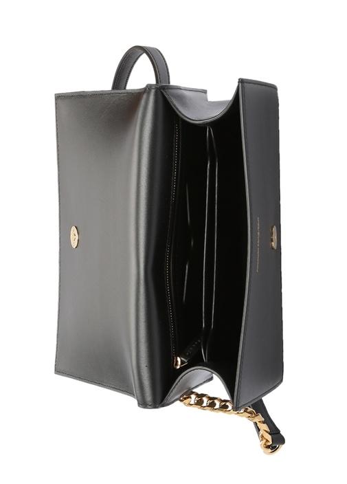 Siyah Gold Yüzük Detaylı Kadın Deri Çanta