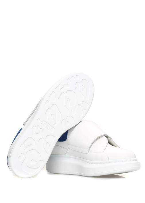 Oversize Beyaz Mavi Kadın Deri Sneaker