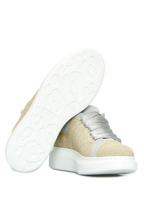 Gold Silver Örgülü Sim Dokulu Kadın Sneaker