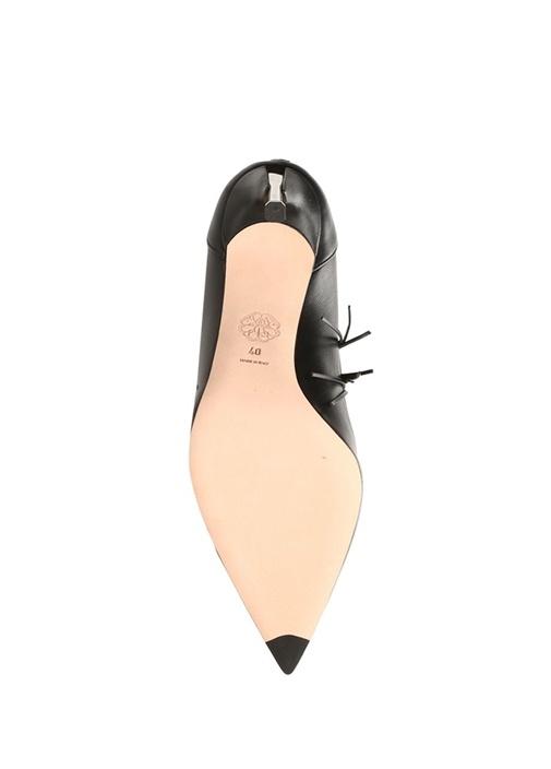Siyah Silver Püsküllü Deri Topuklu Ayakkabı