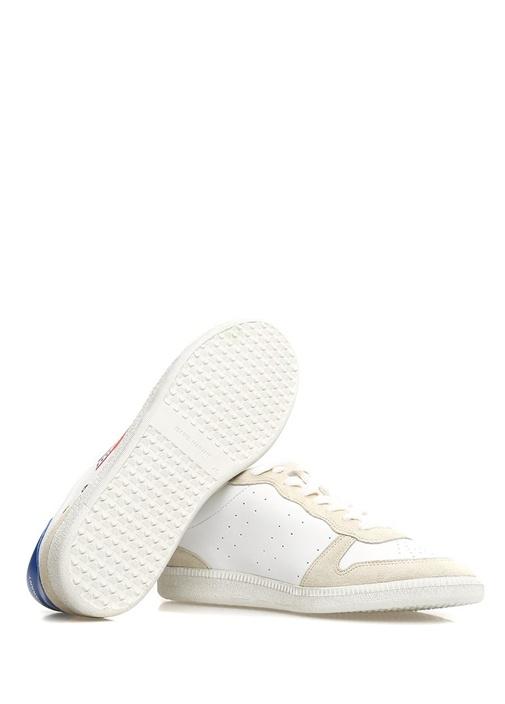 Bulian Beyaz Mavi Logolu Kadın Deri Sneaker
