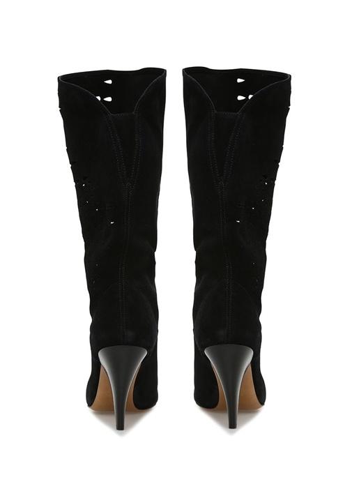 Lurrey Siyah Lazer Kesimli Kadın Süet Çizme