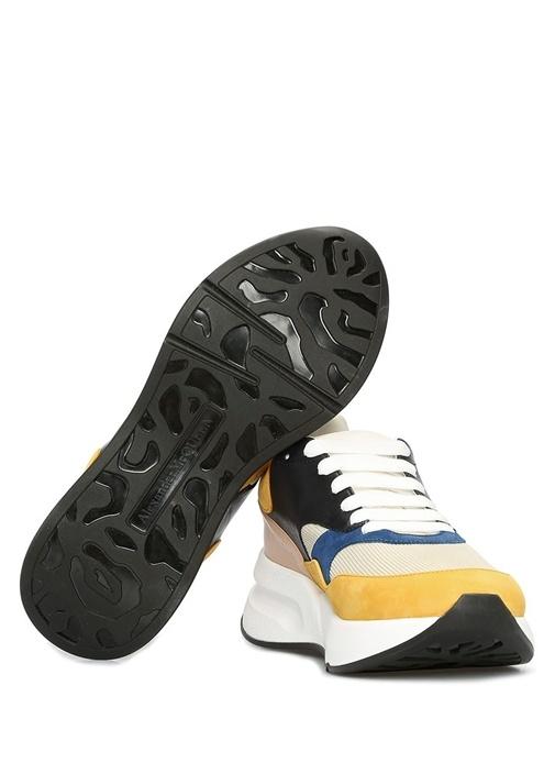 Colorblocked Garnili Erkek Deri Sneaker