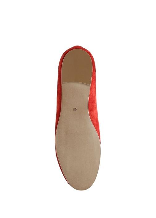 Kırmızı Zincir Detaylı Kadın Süet Loafer