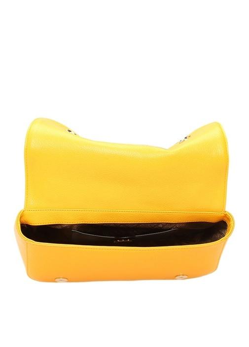Bej Sarı Garni Detaylı Logo Jakarlı Kadın Çanta