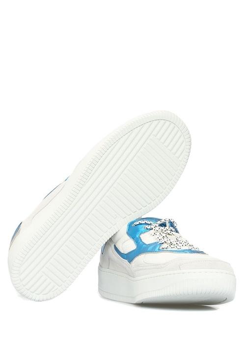 Beyaz Mavi File Dokulu Erkek Deri Sneaker