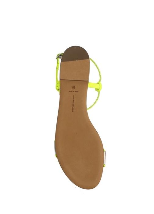 Bungee Silver Neon Sarı Kadın Deri Sandalet