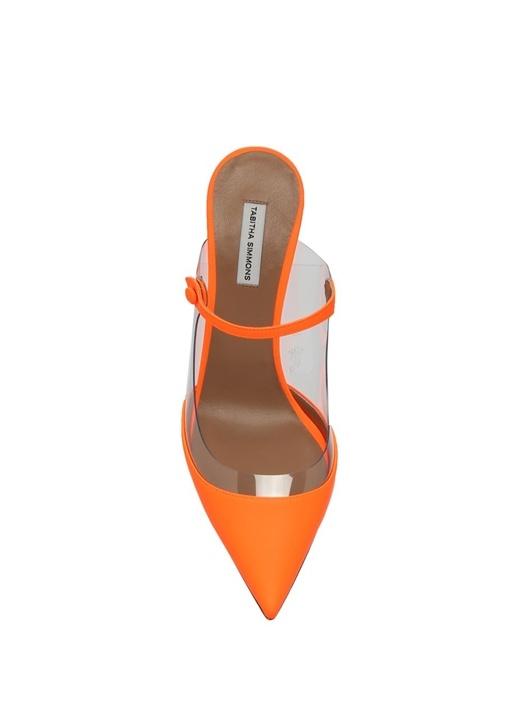 Allie Neon Turuncu Transparan Topuklu Ayakkabı