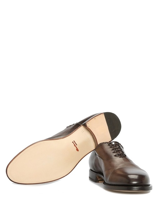 Kahverengi Örgü Detaylı Erkek Deri Ayakkabı