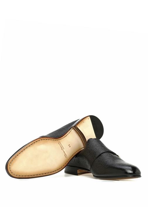 Siyah Çift Kemerli Dokulu Erkek Deri Ayakkabı
