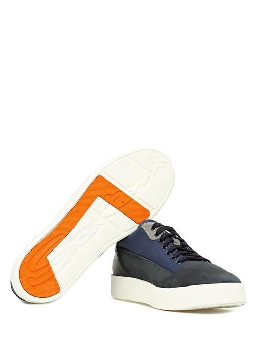 Lacivert Garnili Erkek Deri Sneaker
