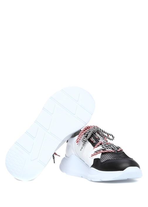 Siyah Beyaz File Dokulu Erkek Deri Sneaker