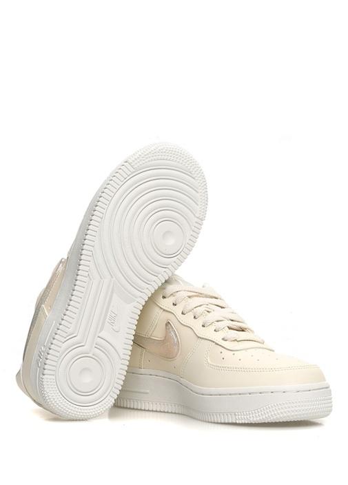 Air Force 1 07 Bej Sim Detaylı Kadın Deri Sneaker