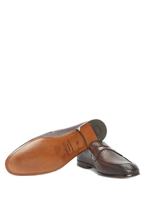 Kahverengi Dokulu Erkek Deri Loafer