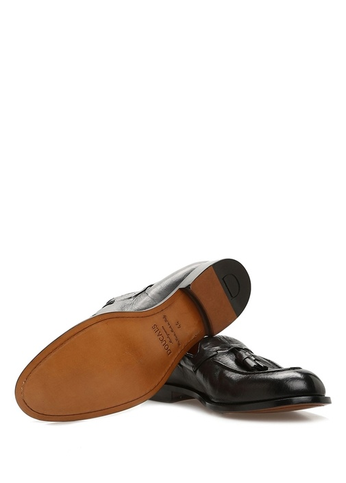 Siyah Püskül Detaylı Erkek Deri Loafer