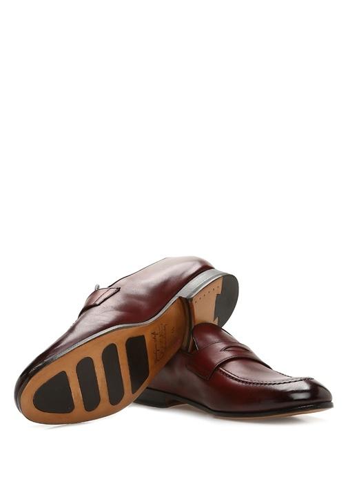 Bordo Bant Detaylı Erkek Deri Loafer
