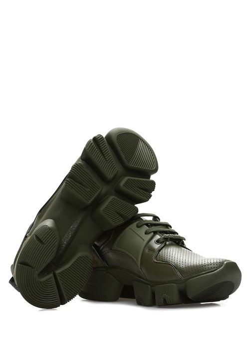 Jaw Haki Logolu Erkek Deri Sneaker