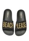 Beach Please Siyah Taşlı Unisex Çocuk Plaj Terliği