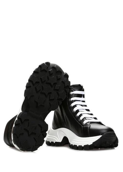 Siyah Beyaz Kalın Tabanlı Kadın Deri Sneaker