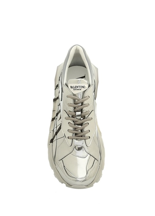 VLTN Metalik Silver Kadın Deri Sneaker