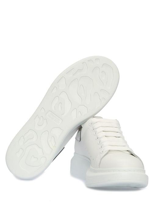 Oversize Beyaz Silver Logolu Kadın DeriSneaker