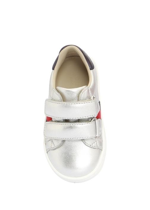 Silver Logo Bant Detaylı Kız Çocuk DeriSneaker