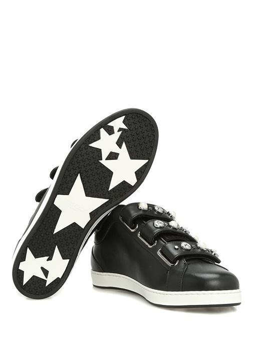 Ny Siyah-Beyaz Deri Kadın Sneaker