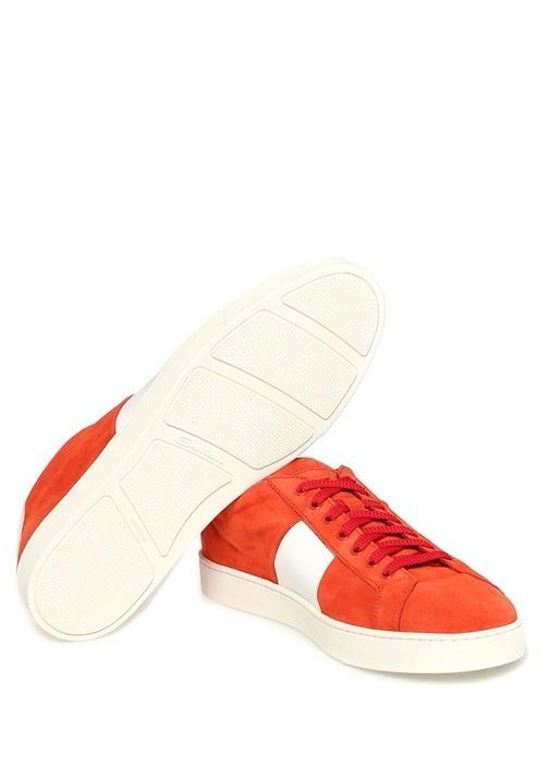 Kırmızı - Beyaz Deri Erkek Sneaker