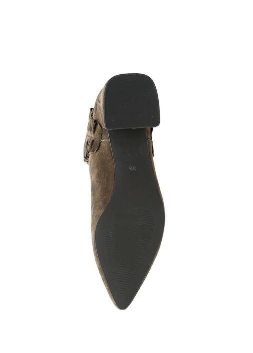 Kahverengi Fırfır Detaylı Kadın Süet Bot