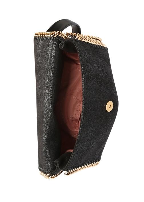 Falabella Siyah Gold Parlak Dokulu Kadın Çanta