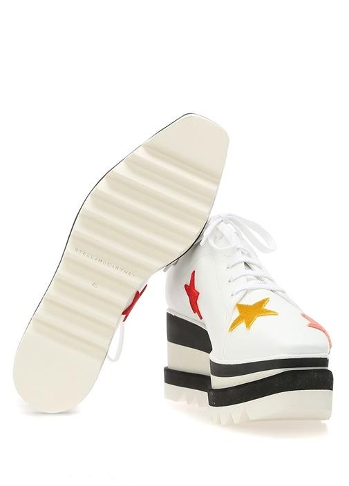 Elyse Beyaz Yıldız Patchli Kadın Deri Sneaker